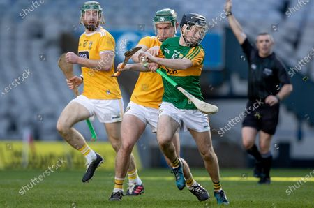 Antrim vs Kerry. Antrim's Stephen Rooney with Shane Conway of Kerry