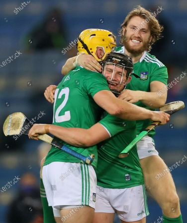 Waterford vs Limerick. Limerick's Tom Morrissey, Peter Casey and Seamus Flanagan celebrate after the game
