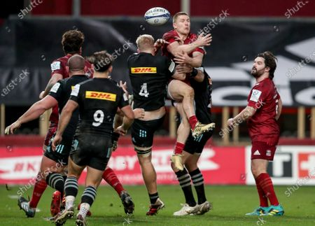 Munster vs Harlequins. Munster's Andrew Conway is tackled by Hugh Tizard and Scott Baldwin of Harlequins
