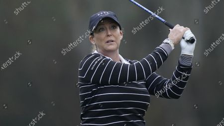 Stock Photo of Cristie Kerr hits from the second tee during the final round of the U.S. Women's Open golf tournament, in Houston