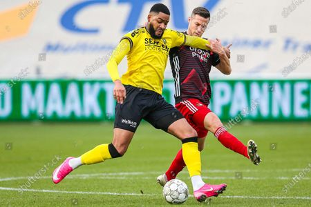 Feyenoord Rotterdam player Uros Spajic (R) in action against VVV-Venlo player Jafar Arias (L)  during the Dutch Eredivisie match between VVV Venlo and Feyenoord Rotterdam in Venlo, The Netherlands, 13 December 2020.