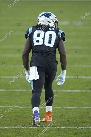 Carolina Panthers tight end Ian Thomas (80) during an NFL football game against the Denver Broncos, in Charlotte, N.C