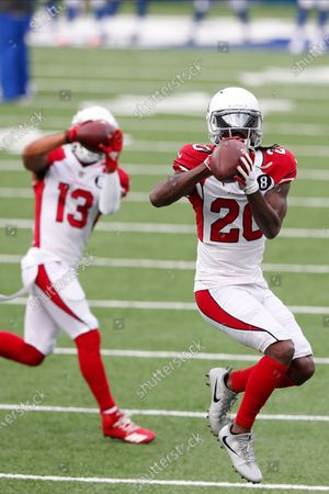 Arizona Cardinals' Dre Kirkpatrick (20) warms-up before an NFL football game against the New York Giants, in East Rutherford, N.J