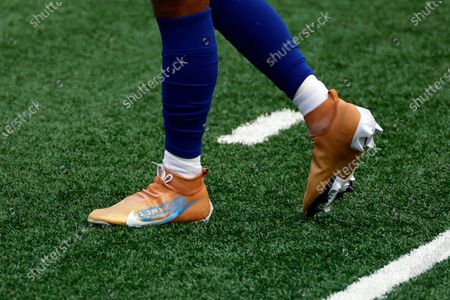 The 'My Cause My Cleats' on New York Giants wide receiver Golden Tate (15) are seen before an NFL football game against the Arizona Cardinals, in East Rutherford, N.J