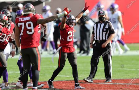 Tampa Bay Buccaneers defensive back Andrew Adams (26) celebrates a stop against the Minnesota Vikings during the first half of an NFL football game, in Tampa, Fla