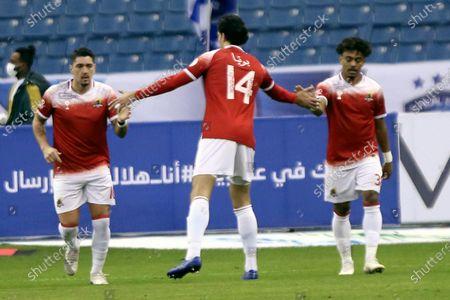 Al-Wehda's player Dimitri Petratos (L) celebrates with teammates after scoring a goal during the Saudi Professional League soccer match between Al-Hilal and Al-Wehda at King Fahd International Stadium, in Riyadh, Saudi Arabia, 13 December 2020.
