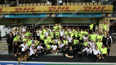 Lewis Hamilton, Mercedes-AMG Petronas F1, Valtteri Bottas, Mercedes-AMG Petronas F1, and the Mercedes team celebrate another succesful World Championship campaign during the 2020 Formula One Abu Dhabi Grand Prix