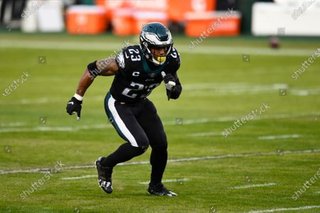 Philadelphia Eagles' Rodney McLeod warms up before an NFL football game against the New Orleans Saints, in Philadelphia