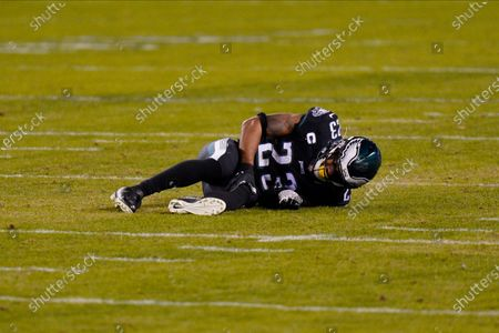 Philadelphia Eagles' Rodney McLeod lies on the field after an injury during the second half of an NFL football game against the New Orleans Saints, in Philadelphia