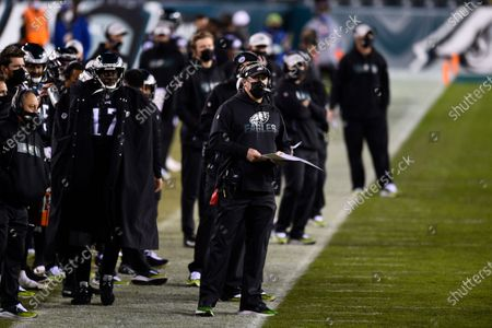 Philadelphia Eagles head coach Doug Pederson looks on from the sidelines during the second half of an NFL football game against the New Orleans Saints, in Philadelphia