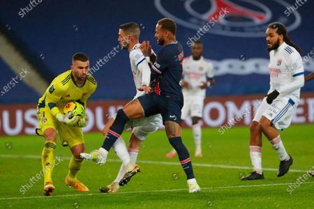 Lyon's goalkeeper Anthony Lopes holds the ball as Mattia De Sciglio, second from left, is fouled by PSG's Neymar, center, during the League One soccer match between Paris Saint Germain and Lyon, at the Parc des Princes stadium in Paris, France
