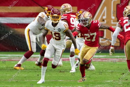 Washington Football Team wide receiver Robert Foster (19) in action against San Francisco 49ers cornerback Dontae Johnson (27) during an NFL football game, in Glendale, Ariz
