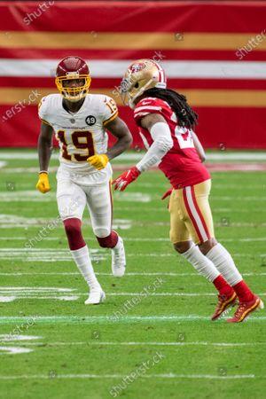Washington Football Team wide receiver Robert Foster (19) in action against San Francisco 49ers cornerback Jason Verrett (22) during an NFL football game, in Glendale, Ariz