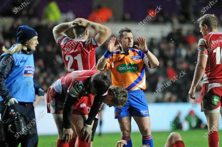 File pic of referee Nigel Owens who has announced his retirement from international rugby after being ref for 100 tests.RaboDirect Pro12 - Ospreys v Scarlets - 3rd January 2014Referee Nigel Owens keeps order.