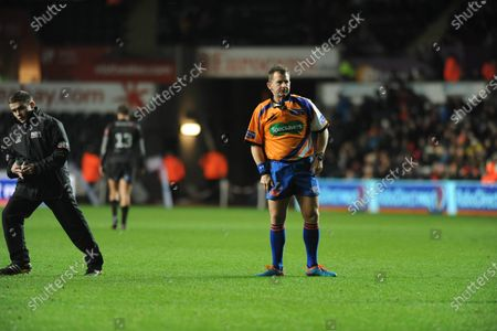 File pic of referee Nigel Owens who has announced his retirement from international rugby after being ref for 100 tests.RaboDirect Pro 12 - Ospreys v Benetton Treviso - Swansea - 16th February 2014 : Referee Nigel Owens.