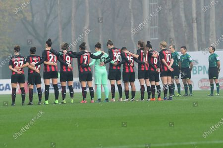 Minute of silence in memory of Paolo Rossi before the Serie A women's match between AC Milan Women and US Sassuolo