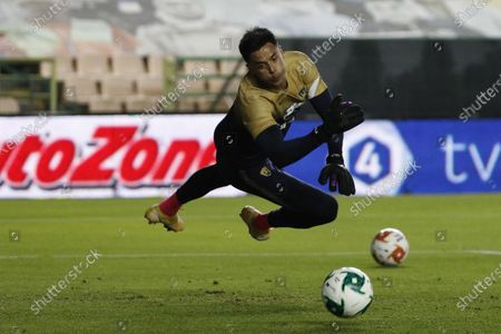Pumas' goalkeeper Alfredo Talavera warms up prior to the Mexican soccer league second-leg final match against Leon, in Leon, Mexico