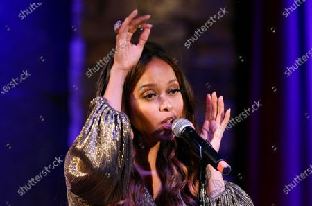 Chrisette Michele performs during the socially distanced and limited capacity concert at City Winery, in Atlanta