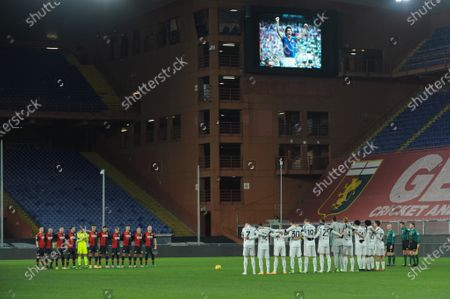 The teams deployed, during the minute of silence for the death of Paolo Rossi