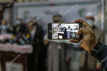 Senior Hamas leader Mahmoud al-Zahar, speaks during a press conference against normalization, at the legislative council, in Gaza city.