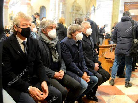 Funeral of Paolo Rossi. Giancarlo Antognoni, Giuseppe Galderisi, Bruno Conti and Alessandro Altobelli