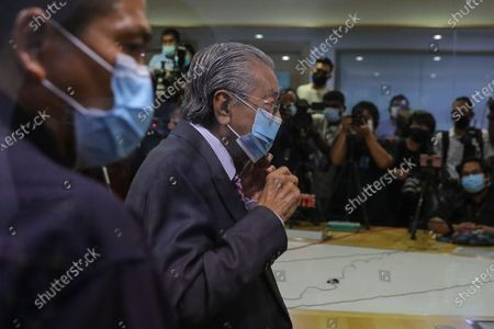 Former Malaysia Prime Minister Mahathir Bin Mohamad (R) leaves the press conference in Kuala Lumpur, Malaysia, 14 December 2020. Tengku Razaleigh also UMNO veteran claimed that current prime minister Muhyiddin Yassin is not a legitimate prime minister.