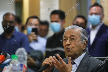 Stock Picture of Former Malaysia Prime Minister Mahathir Bin Mohamad  speaks to journalists during press conference in Kuala Lumpur, Malaysia, 14 December 2020. Tengku Razaleigh also UMNO veteran claimed that current prime minister Muhyiddin Yassin is not a legitimate prime minister.