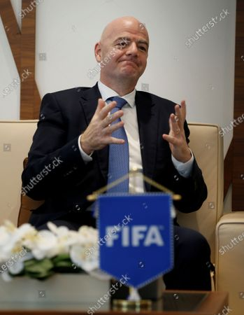 FIFA President Gianni Infantino talks with Sheikh Mansour bin Mohammed bin Rashid Al Maktoum, Chairman of Dubai Supreme Committee of Crisis and Disaster Management during his visit in Dubai, United Arab Emirates, 14 December 2020.
