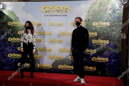 Raul Arevalo (R) and actress Anna Castillo (L) poses during the presentation of the film 'The Croods. A New Era' in Madrid, Spain, 14 December 2020.