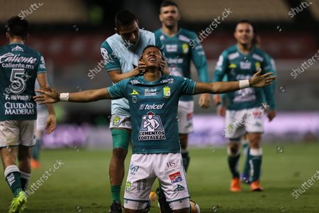 Leon's Yairo Moreno (front) celebrates after scoring during the second leg of the final of the 2020 Liga MX Guardianes tournament against UNAM Pumas in Leon, Mexico, on Dec. 13, 2020. (Xinhua/Carlos Ramirez/Straffon Images)