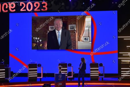 2023 Rugby World Cup Draw, Palais Brongniart, Paris, France 14/12/2020. World Rugby Chairman, Sir Bill Beaumont addresses the room via video link