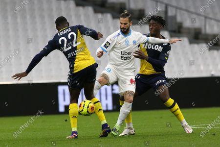 Marseille's Benedetto Dario Ismael and Monaco's Fofana Youssouf and Monaco's Batalah Martins Gelson