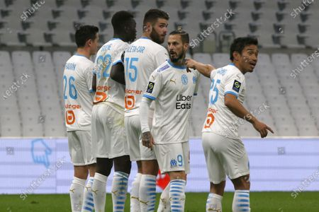 Marseille's Florian Thauvin, Gueye Pape Alassane, Caleta-Car Duje, Benedetto Dario Ismael and Yto Nagatomo