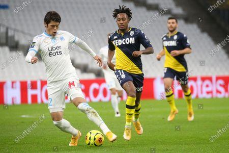 Marseille's Sakai Iroki and Monaco's Batalha Martins Gelson