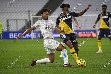 Monaco's Batalha Martins Gelson and Marseille's BouBacar Kamara