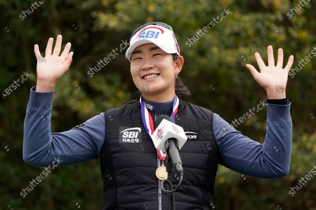 Lim Kim, of South Korea, celebrates after winning the U.S. Women's Open golf tournament, in Houston