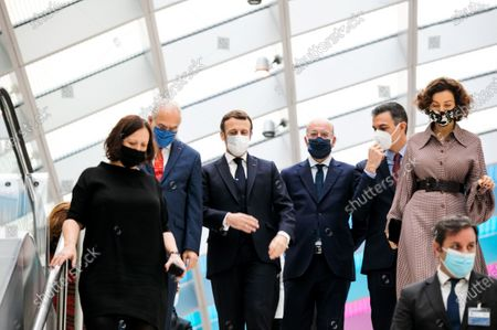 Angel Gurria, Secretary General of the OECD, Emmanuel Macron, President of the French Republic, Charles Michel, President of the European Council, Pedro Sanchez, President of the Government of Spain, Audrey Azoulay, Director General of UNESCO