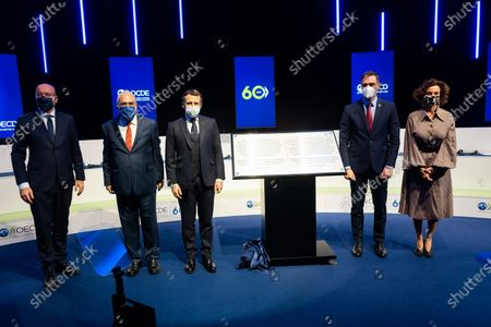 Stock Image of Charles Michel, President of the European Council, Angel Gurria, Secretary General of the OECD, Emmanuel Macron, President of the French Republic, Pedro Sanchez, President of the Government of Spain, Audrey Azoulay, Director General of UNESCO