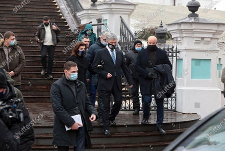 Fifth President of Ukraine, European Solidarity MP Petro Poroshenko (C) and his wife Maryna Poroshenko leave after the liturgy in St Andrew's Church that was reopened after 11 years of restoration works, Kyiv, capital of Ukraine.
