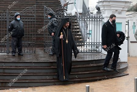 Exarch of the Ecumenical Patriarch of Constantinople Bartholomew I, Bishop Michael (Anishchenko) of Comana is pictured outside St Andrew's Church that was opened after the 11-year-long restoration process, Kyiv, capital of Ukraine.