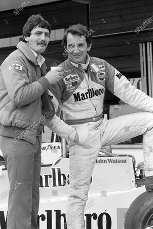 John Watson (GBR) McLaren (Right) who crashed out of the race on lap 50, with Tony Jardine (GBR) McLaren. Non-Championship Formula One, Spanish Grand Prix, Jarama, Spain, 1 June 1980.