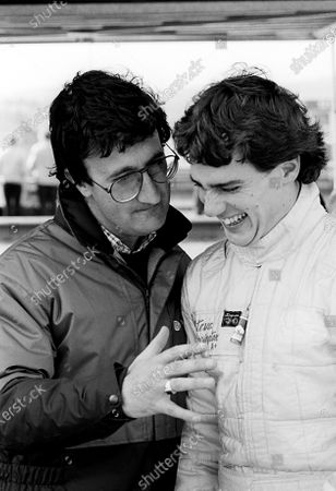(L to R): Eddie Jordan (IRE) Team Owner with Steve Harrington (AUS). British Formula Three Championship, Rd 2, Thruxton, England, 10 March 1985.