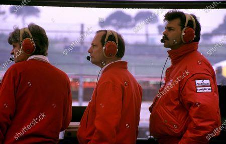 Steve Nichols (USA) McLaren Designer with Ron Dennis (GBR) McLaren Team Owner and Gordon Murray (GBR) McLaren Designer. San Marino Grand Prix, Imola, Italy, 23 March 1989.