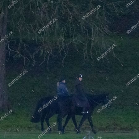 Prince Andrew Duke Of York goes for an early morning ride at Windsor Castle