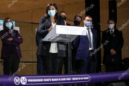 Prime Minister Jean Castex accompanied by Stephane Troussel and Jean-Baptiste Djebbari-Bonnet, Minister of Transport, Valerie Pecresse, Anne Hidalgo and Catherine Guillouard inaugurates the extension of Metro Line 14, from Pont Cardinet station to Saint-Ouen town hall