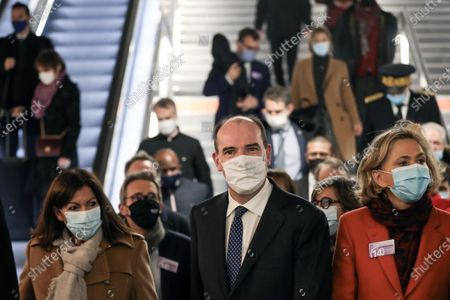 Stock Picture of Prime Minister Jean Castex accompanied by Stephane Troussel and Jean-Baptiste Djebbari-Bonnet, Minister of Transport, Valerie Pecresse, Anne Hidalgo and Catherine Guillouard inaugurates the extension of Metro Line 14, from Pont Cardinet station to Saint-Ouen town hall