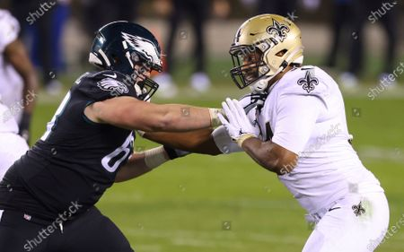 Stock Picture of Philadelphia Eagles' Jack Driscoll (63) in action against New Orleans Saints' Cameron Jordan (94) during an NFL football game, in Philadelphia. The Eagles defeated the Saints 24-21