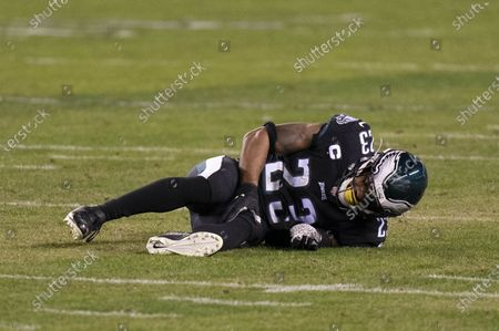 Philadelphia Eagles safety Rodney McLeod (23) reacts to his injury during the NFL football game against the New Orleans Saints, in Philadelphia