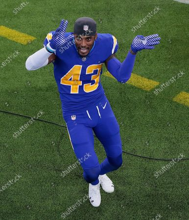 Inglewood, CA, Sunday, Dec. 13, 2020 Los Angeles Chargers cornerback Michael Davis (43) celebrates after the helping the team beat the Falcons with a fourth quarter interception at SoFi Stadium. (Robert Gauthier/ Los Angeles Times)