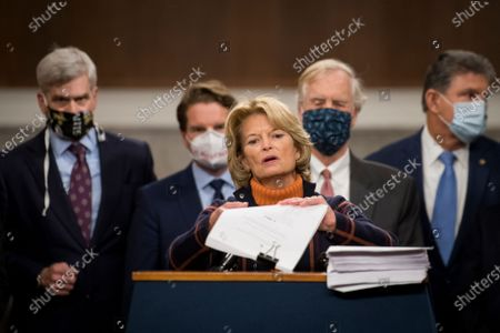 Stock Image of United States Senator Lisa Murkowski (Republican of Alaska) joins a bipartisan group of US Senators announcing the legislative text of the two bipartisan, bicameral COVID-19 emergency relief bills that propose to provide up to $908 billion in emergency relief on Capitol Hill in Washington, DC. The first will allocate $748 billion for more PPP assistance and an unemployment benefit; and a second $160 billion bill to provide aid for state and local governments and liability protections for businesses.